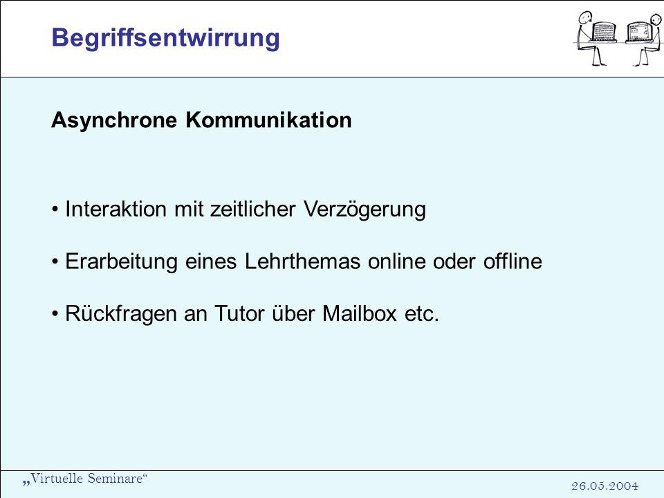 Virtuelle Seminare 26.05.2004 Begriffsentwirrung Asynchrone Kommunikation Interaktion mit zeitlicher Verzögerung Erarbeitung eines Lehrthemas online o