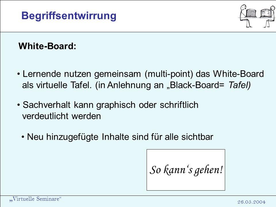 Virtuelle Seminare 26.05.2004 Begriffsentwirrung White-Board: Lernende nutzen gemeinsam (multi-point) das White-Board als virtuelle Tafel. (in Anlehnu