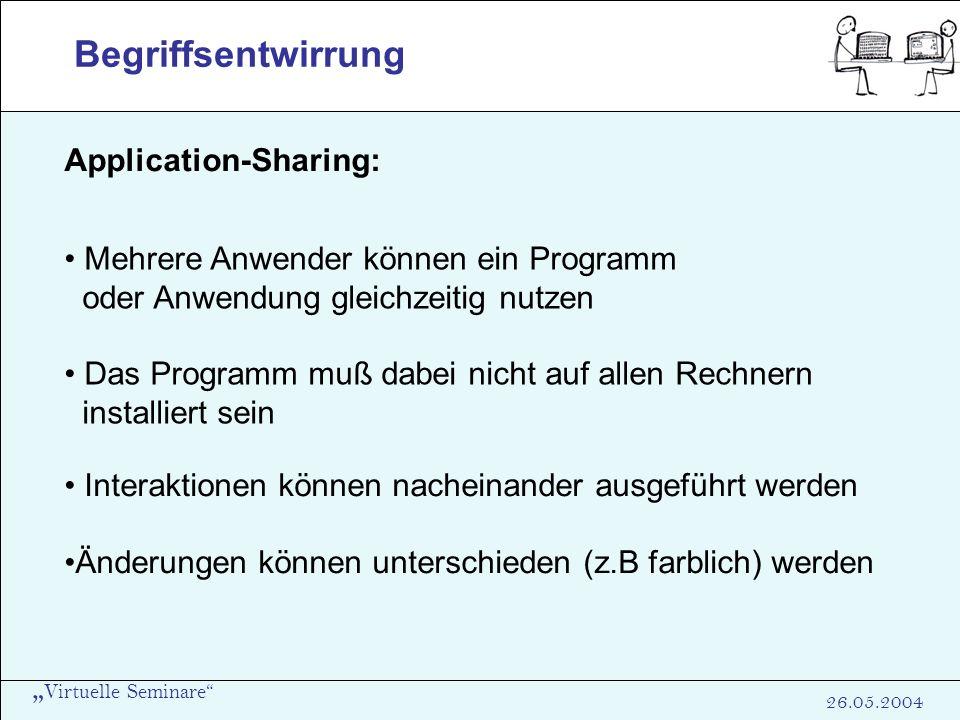 Virtuelle Seminare 26.05.2004 Begriffsentwirrung Application-Sharing: Mehrere Anwender können ein Programm oder Anwendung gleichzeitig nutzen Das Prog