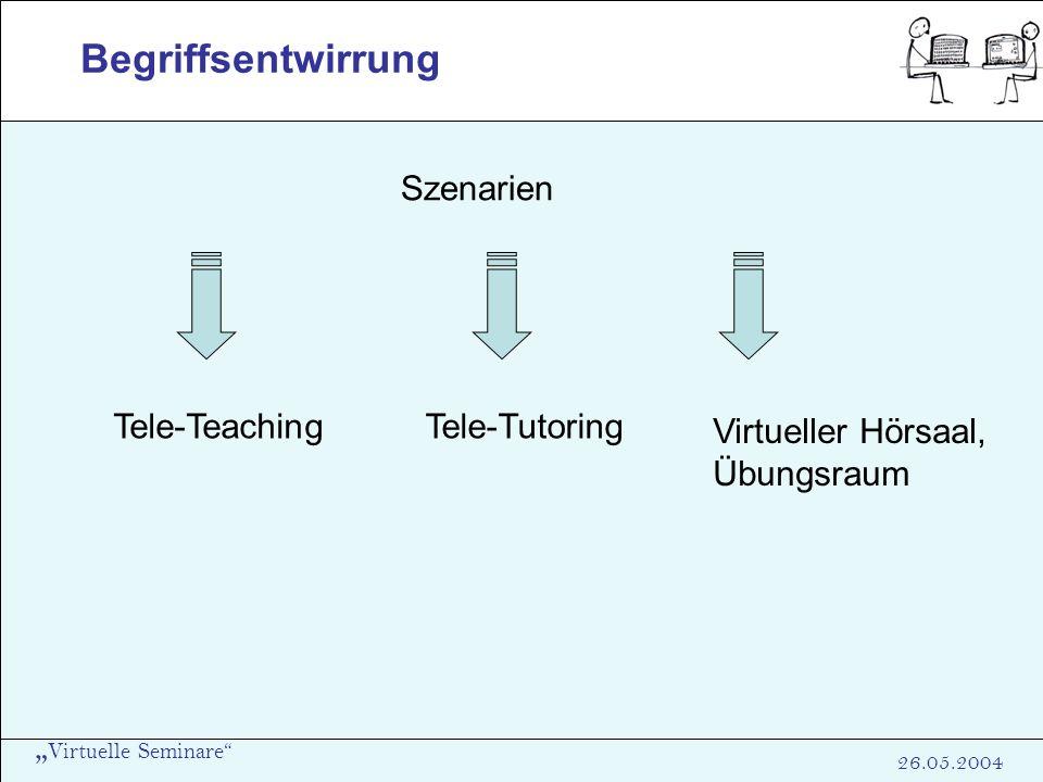 Virtuelle Seminare 26.05.2004 Begriffsentwirrung Tele-Teaching Szenarien Tele-Tutoring Virtueller Hörsaal, Übungsraum