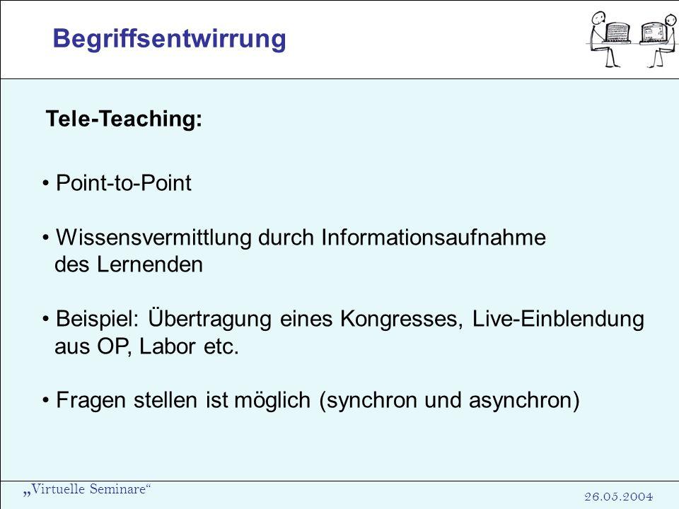 Virtuelle Seminare 26.05.2004 Begriffsentwirrung Tele-Teaching: Point-to-Point Wissensvermittlung durch Informationsaufnahme des Lernenden Beispiel: Ü