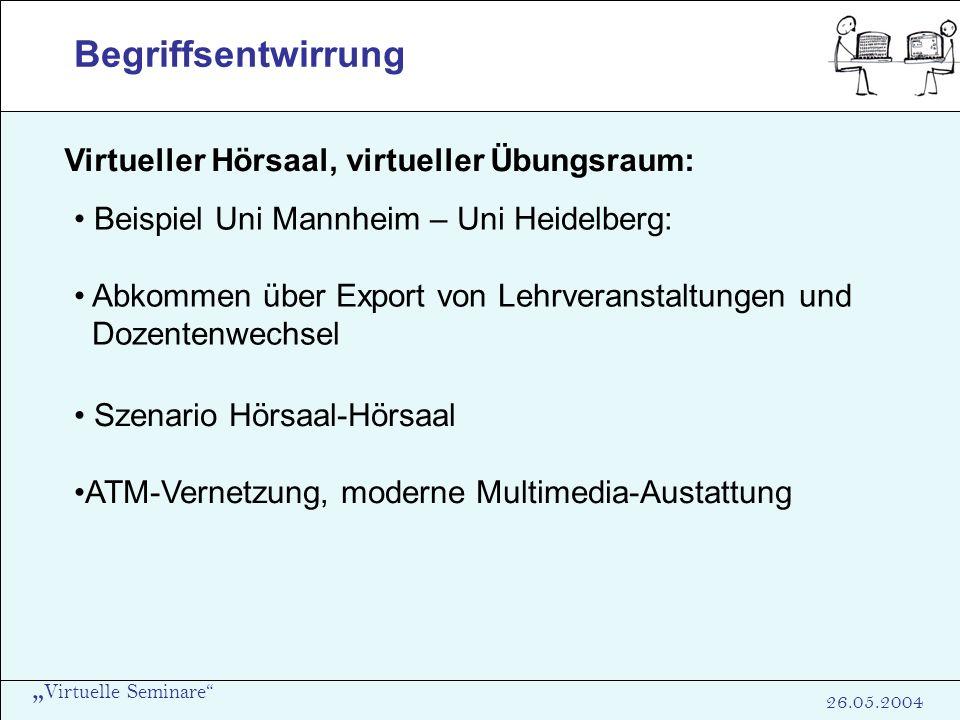 Virtuelle Seminare 26.05.2004 Begriffsentwirrung Virtueller Hörsaal, virtueller Übungsraum: Beispiel Uni Mannheim – Uni Heidelberg: Abkommen über Expo