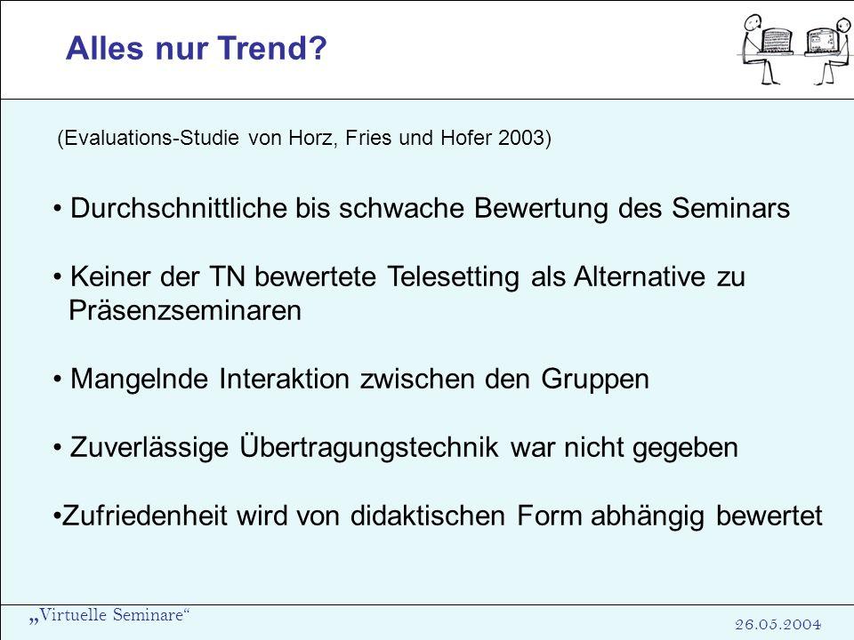 Virtuelle Seminare 26.05.2004 Alles nur Trend? (Evaluations-Studie von Horz, Fries und Hofer 2003) Durchschnittliche bis schwache Bewertung des Semina