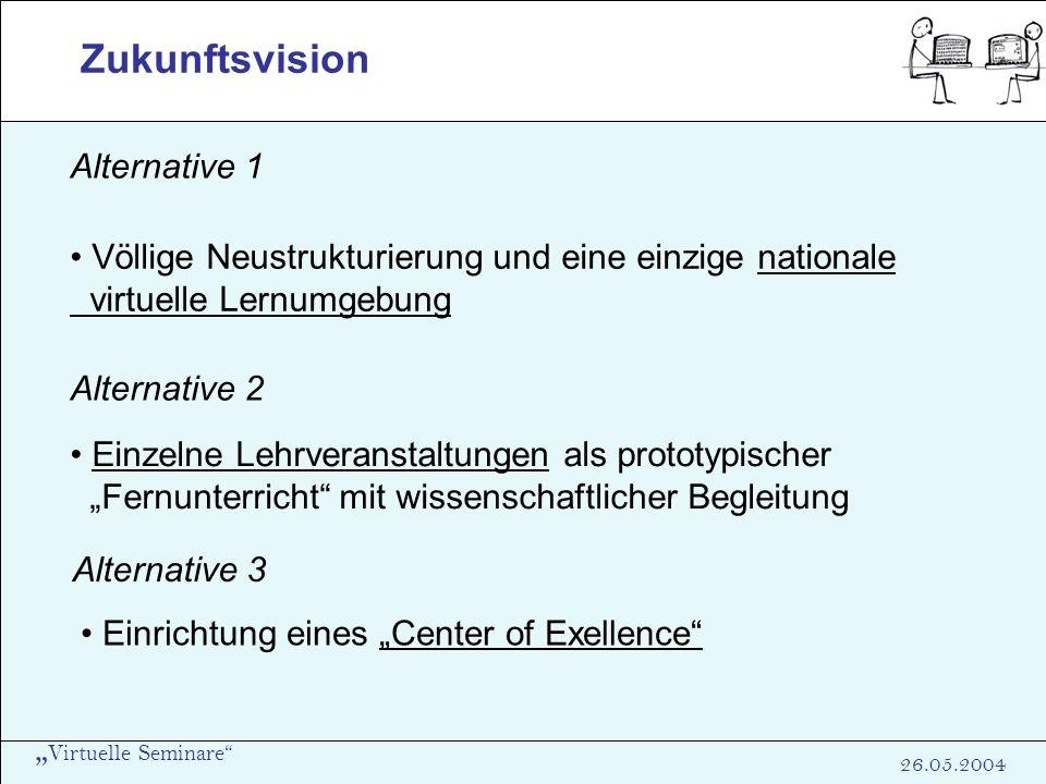Virtuelle Seminare 26.05.2004 Zukunftsvision Alternative 1 Völlige Neustrukturierung und eine einzige nationale virtuelle Lernumgebung Alternative 2 E