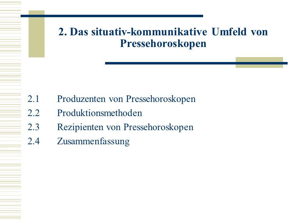 2. Das situativ-kommunikative Umfeld von Pressehoroskopen 2.1Produzenten von Pressehoroskopen 2.2 Produktionsmethoden 2.3 Rezipienten von Pressehorosk