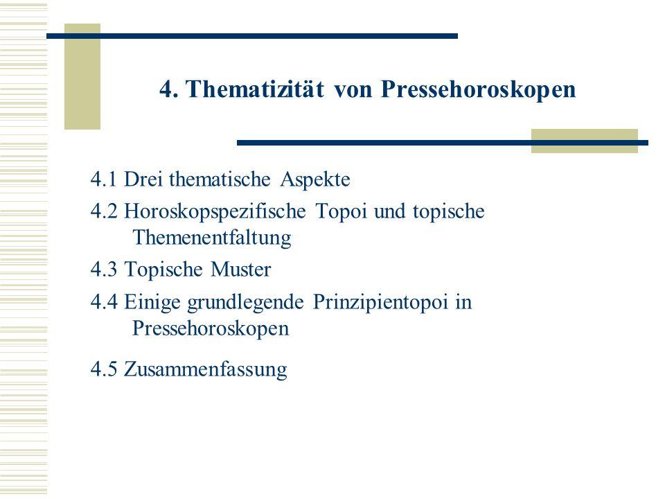 4. Thematizität von Pressehoroskopen 4.1 Drei thematische Aspekte 4.2 Horoskopspezifische Topoi und topische Themenentfaltung 4.3 Topische Muster 4.4