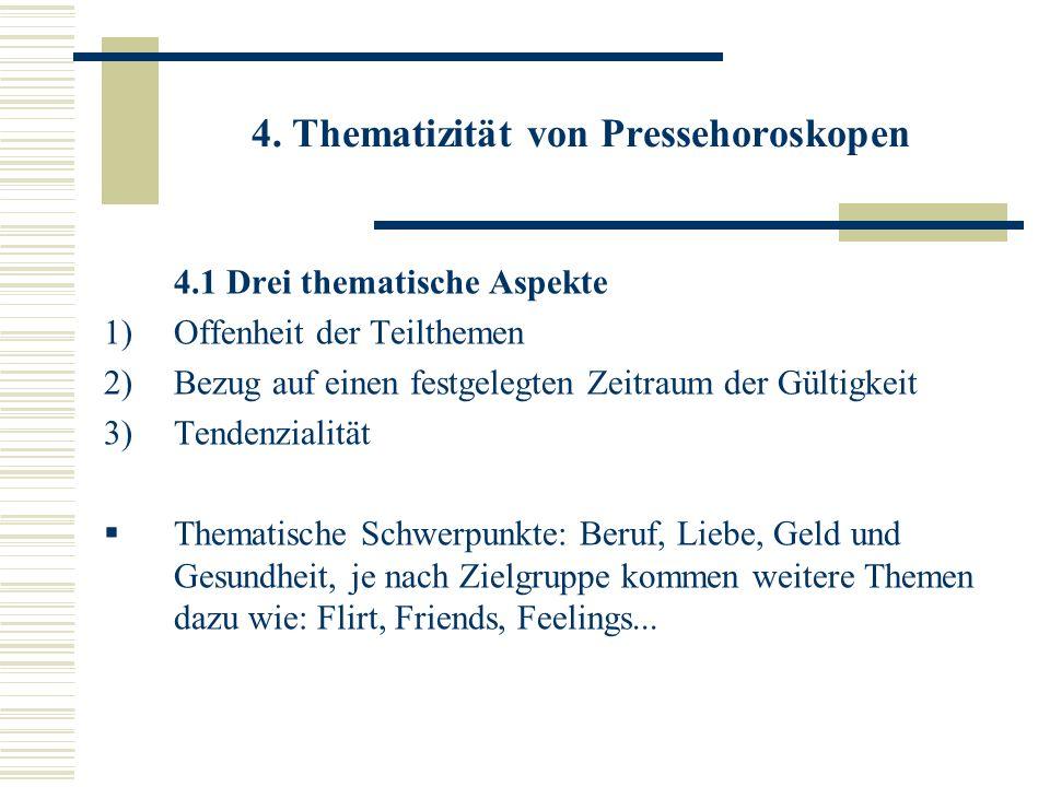 4. Thematizität von Pressehoroskopen 4.1 Drei thematische Aspekte 1)Offenheit der Teilthemen 2)Bezug auf einen festgelegten Zeitraum der Gültigkeit 3)