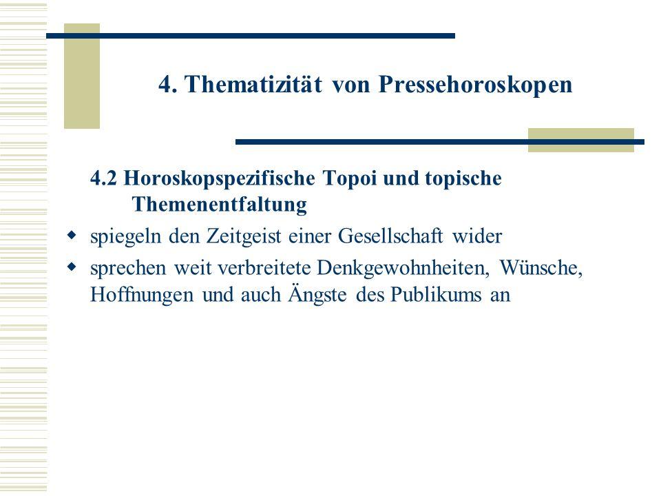 4. Thematizität von Pressehoroskopen 4.2 Horoskopspezifische Topoi und topische Themenentfaltung spiegeln den Zeitgeist einer Gesellschaft wider sprec