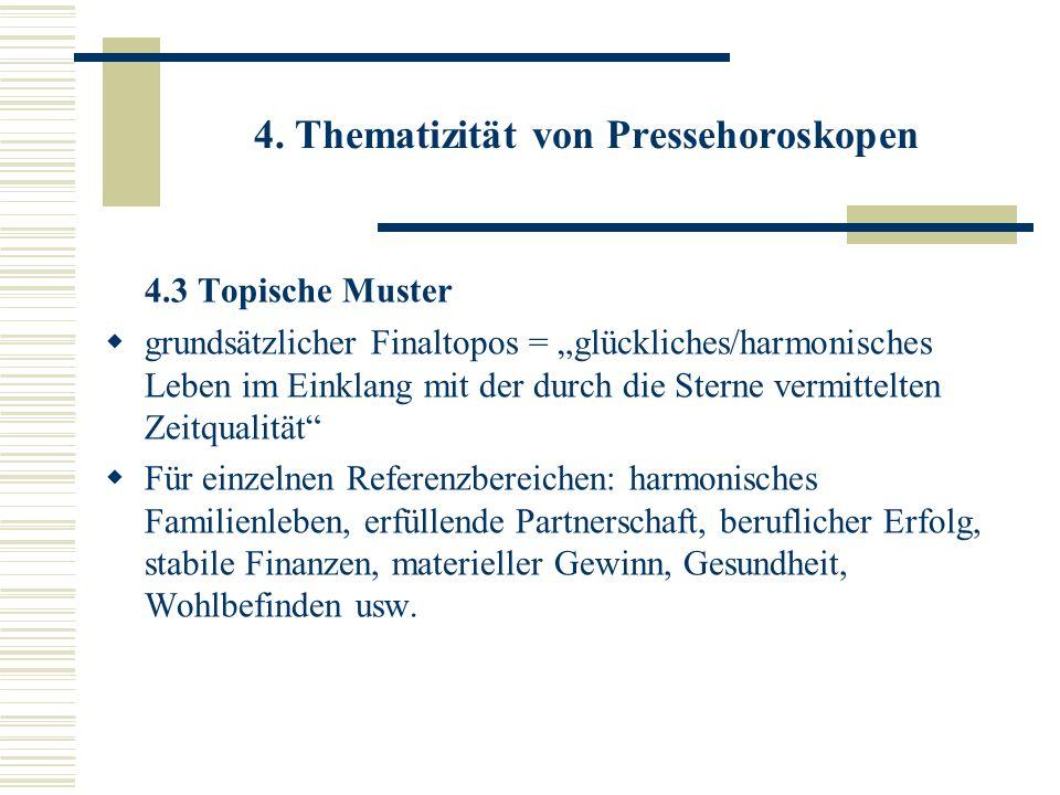 4. Thematizität von Pressehoroskopen 4.3 Topische Muster grundsätzlicher Finaltopos = glückliches/harmonisches Leben im Einklang mit der durch die Ste