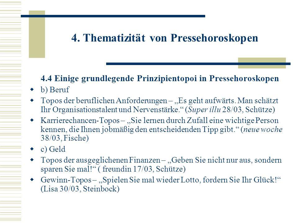 4. Thematizität von Pressehoroskopen 4.4 Einige grundlegende Prinzipientopoi in Pressehoroskopen b) Beruf Topos der beruflichen Anforderungen – Es geh