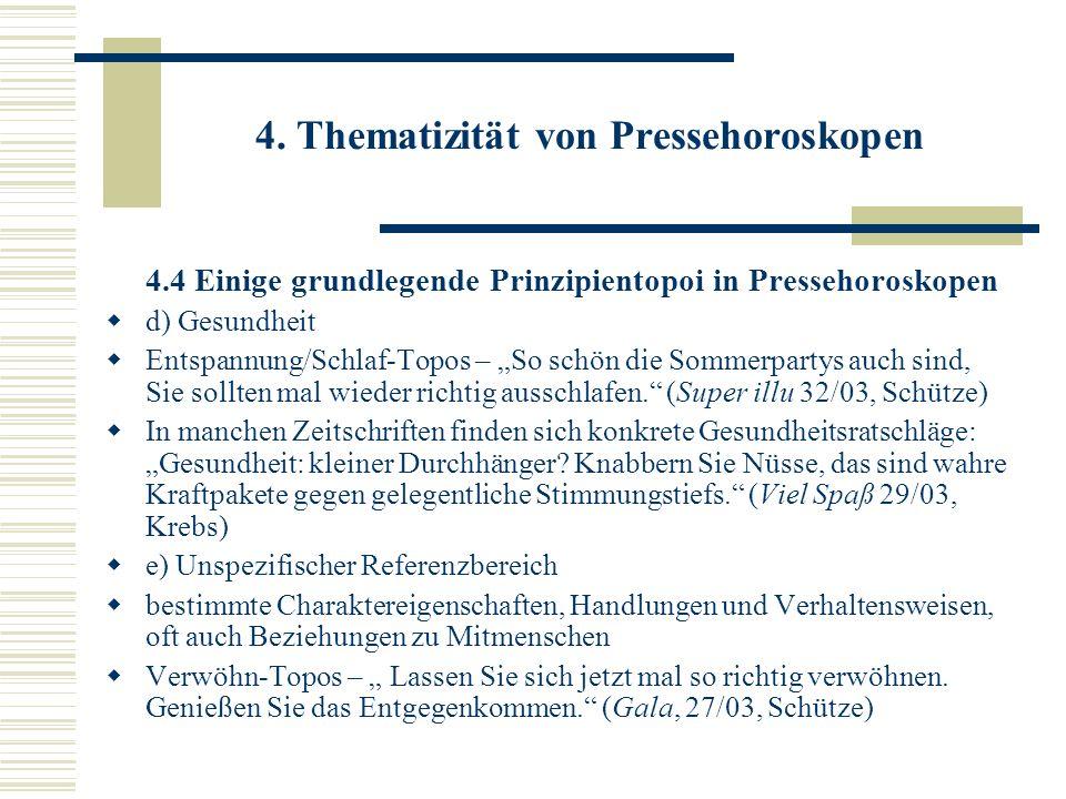 4. Thematizität von Pressehoroskopen 4.4 Einige grundlegende Prinzipientopoi in Pressehoroskopen d) Gesundheit Entspannung/Schlaf-Topos – So schön die