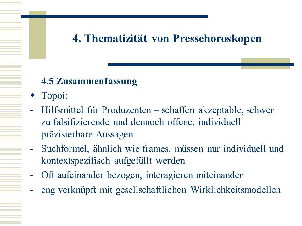 4. Thematizität von Pressehoroskopen 4.5 Zusammenfassung Topoi: -Hilfsmittel für Produzenten – schaffen akzeptable, schwer zu falsifizierende und denn