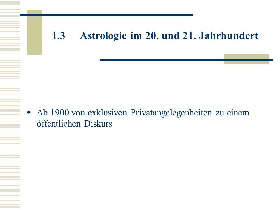 1.3.1 Unterscheidung der Astrologie 1.3.2 seriöse Astrologie lehnt Oberflächliche, reinen Schicksalsglauben und das an reinem Verdienst interessierte astrologische Praktizieren ab orientiert sich auf Lebensberatung, Erziehungspsychologie, Psychotherapie individuelle Beratung Deutscher Astrologen-Verband (DAV e.V.) – Gelöbnis Berufsethik des Astrologen um seriöse Astrologie von Vulgärastrologie abzugrenzen Seriös darf nicht darüber hinweg täuschen, dass Astrologie nach wie vor ein umstrittener Bereich ist!
