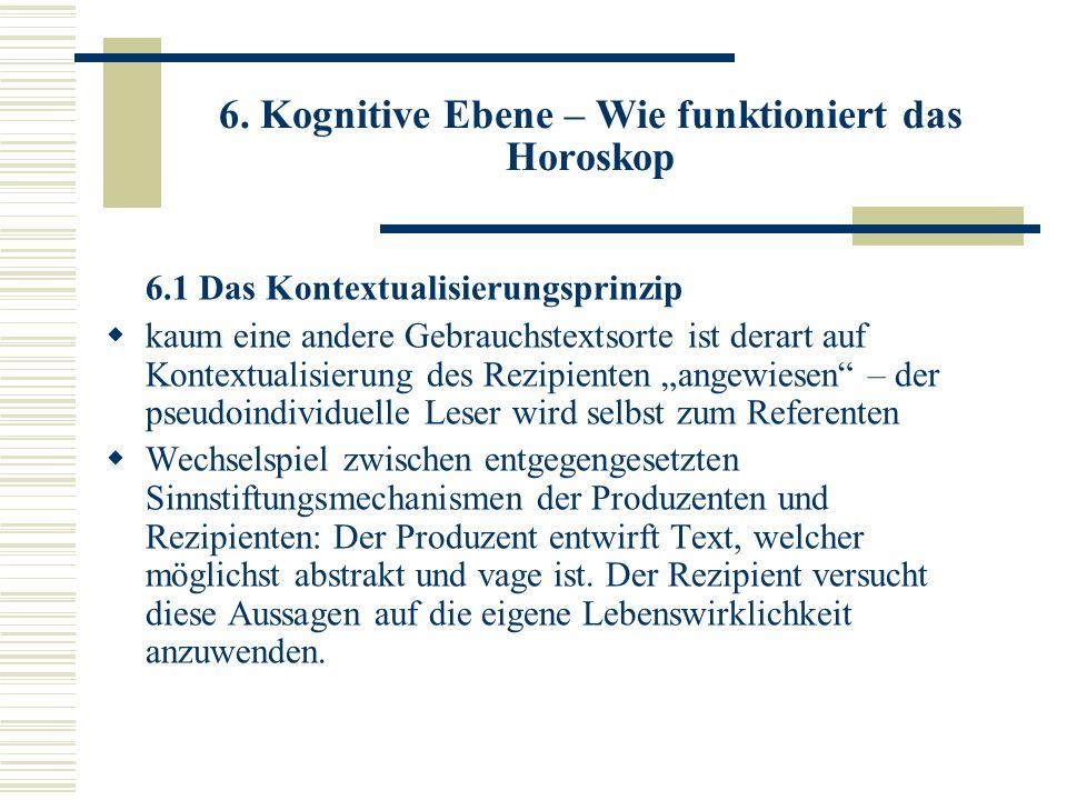 6. Kognitive Ebene – Wie funktioniert das Horoskop 6.1 Das Kontextualisierungsprinzip kaum eine andere Gebrauchstextsorte ist derart auf Kontextualisi