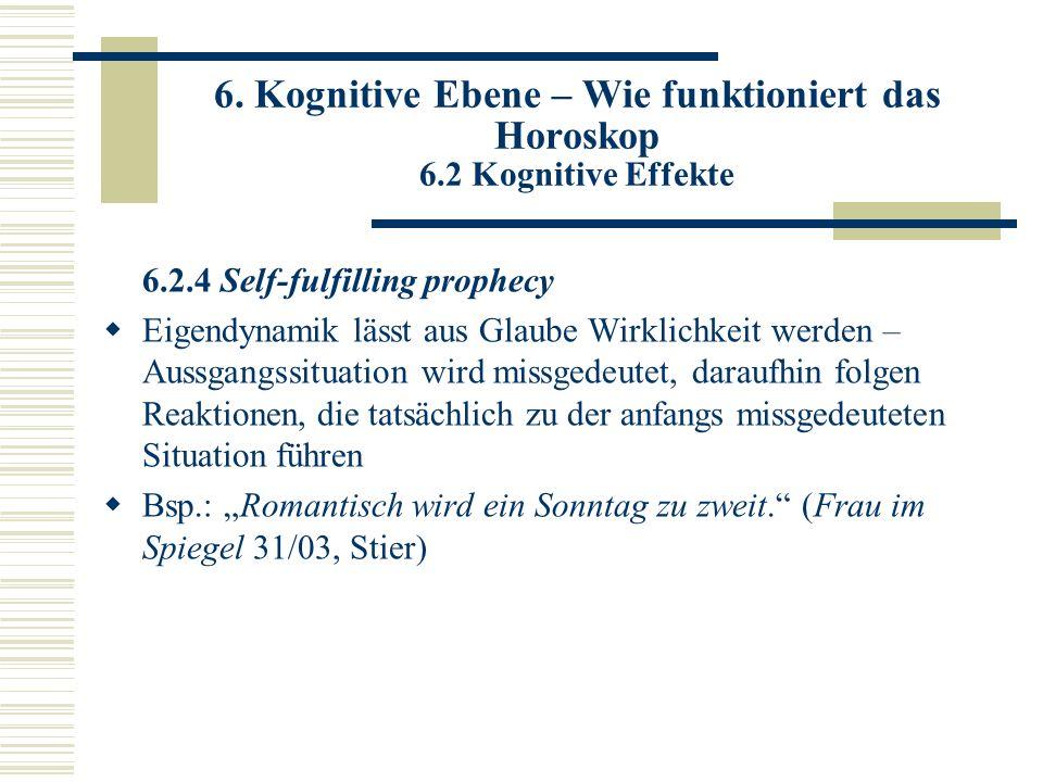 6. Kognitive Ebene – Wie funktioniert das Horoskop 6.2 Kognitive Effekte 6.2.4 Self-fulfilling prophecy Eigendynamik lässt aus Glaube Wirklichkeit wer