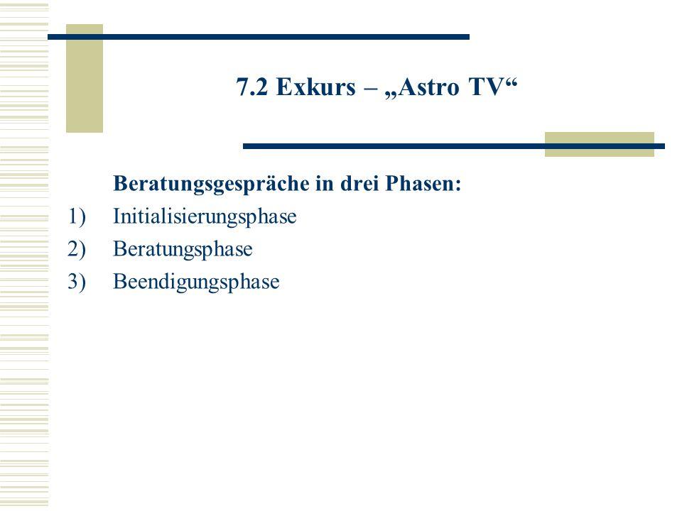 7.2 Exkurs – Astro TV Beratungsgespräche in drei Phasen: 1)Initialisierungsphase 2)Beratungsphase 3)Beendigungsphase