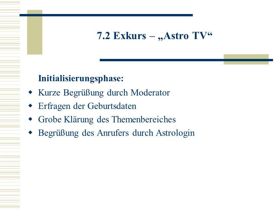 7.2 Exkurs – Astro TV Initialisierungsphase: Kurze Begrüßung durch Moderator Erfragen der Geburtsdaten Grobe Klärung des Themenbereiches Begrüßung des