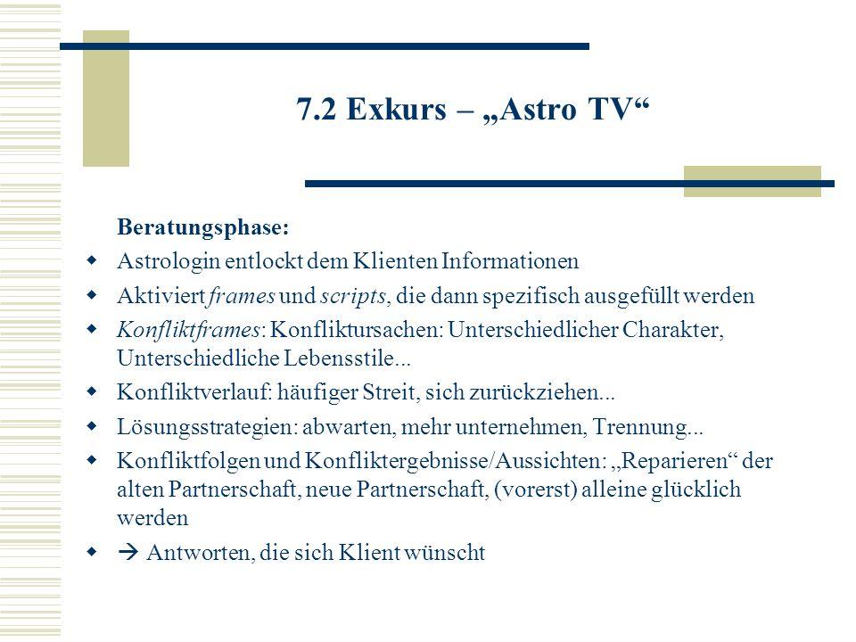 7.2 Exkurs – Astro TV Beratungsphase: Astrologin entlockt dem Klienten Informationen Aktiviert frames und scripts, die dann spezifisch ausgefüllt werd