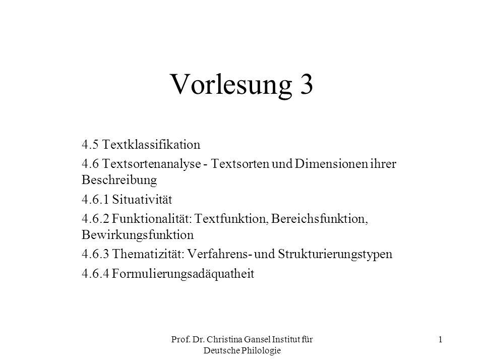Prof. Dr. Christina Gansel Institut für Deutsche Philologie 1 Vorlesung 3 4.5 Textklassifikation 4.6 Textsortenanalyse - Textsorten und Dimensionen ih