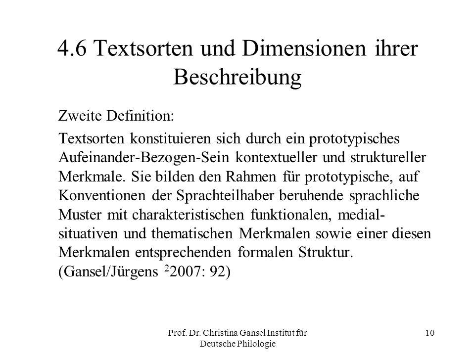 Prof. Dr. Christina Gansel Institut für Deutsche Philologie 10 4.6 Textsorten und Dimensionen ihrer Beschreibung Zweite Definition: Textsorten konstit