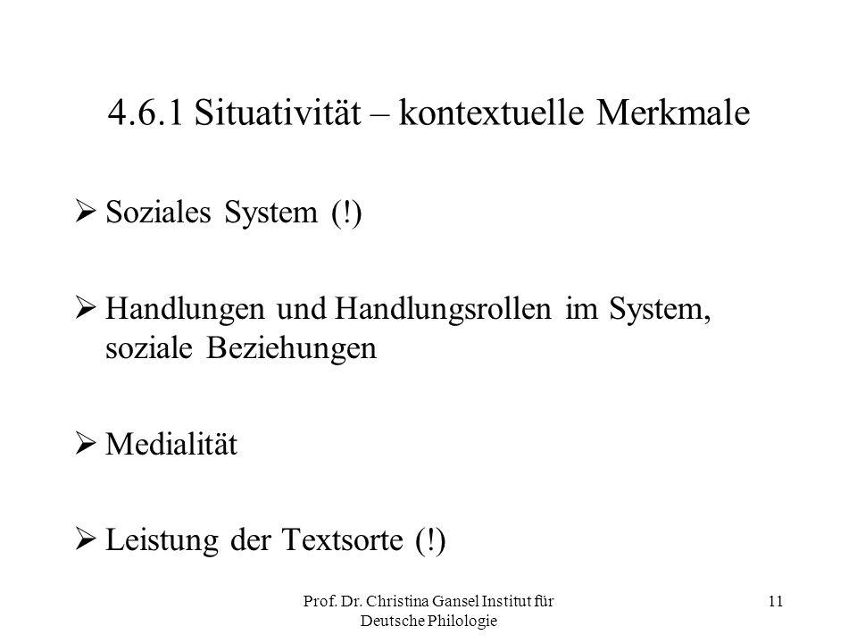 Prof. Dr. Christina Gansel Institut für Deutsche Philologie 11 4.6.1 Situativität – kontextuelle Merkmale Soziales System (!) Handlungen und Handlungs