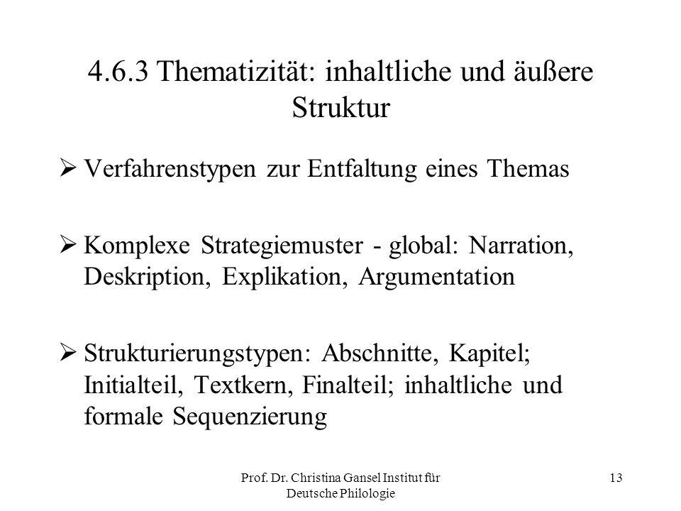 Prof. Dr. Christina Gansel Institut für Deutsche Philologie 13 4.6.3 Thematizität: inhaltliche und äußere Struktur Verfahrenstypen zur Entfaltung eine