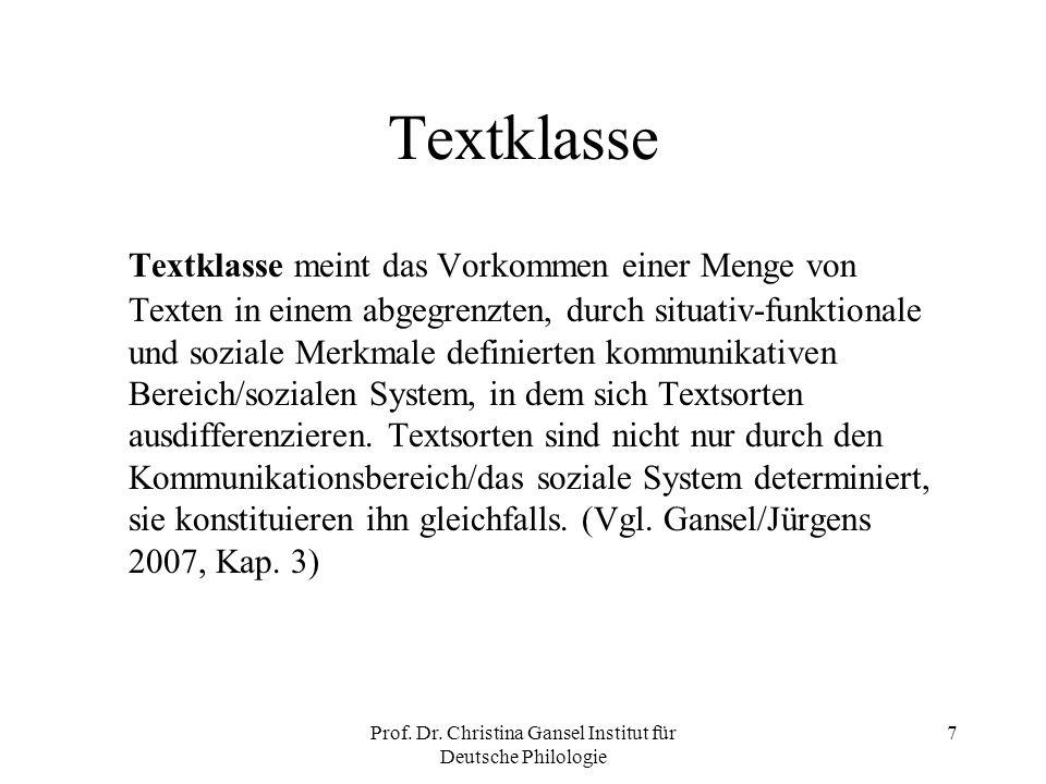 Prof. Dr. Christina Gansel Institut für Deutsche Philologie 7 Textklasse Textklasse meint das Vorkommen einer Menge von Texten in einem abgegrenzten,