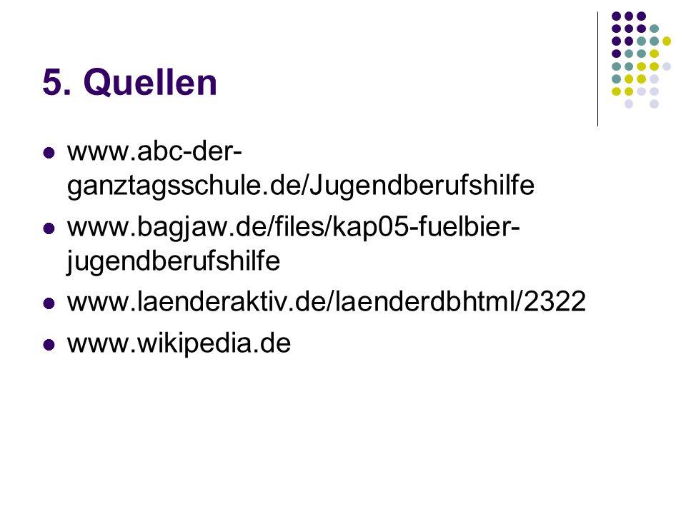 5. Quellen www.abc-der- ganztagsschule.de/Jugendberufshilfe www.bagjaw.de/files/kap05-fuelbier- jugendberufshilfe www.laenderaktiv.de/laenderdbhtml/23