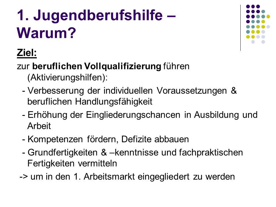 1. Jugendberufshilfe – Warum? Ziel: zur beruflichen Vollqualifizierung führen (Aktivierungshilfen): - Verbesserung der individuellen Voraussetzungen &
