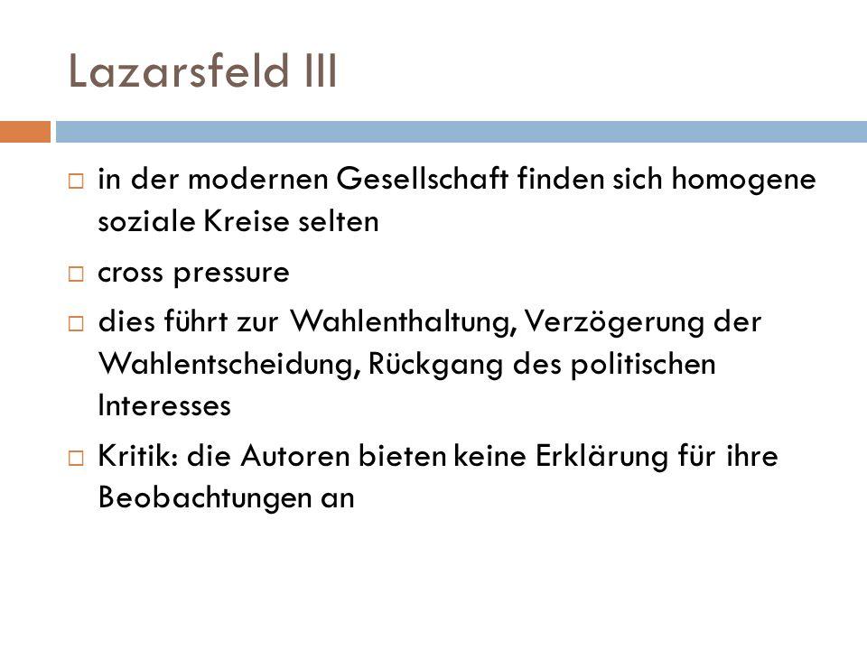 Lazarsfeld III in der modernen Gesellschaft finden sich homogene soziale Kreise selten cross pressure dies führt zur Wahlenthaltung, Verzögerung der W