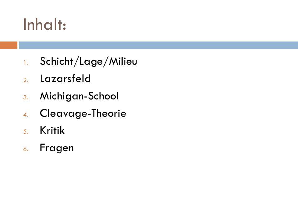 Inhalt: 1. Schicht/Lage/Milieu 2. Lazarsfeld 3. Michigan-School 4. Cleavage-Theorie 5. Kritik 6. Fragen