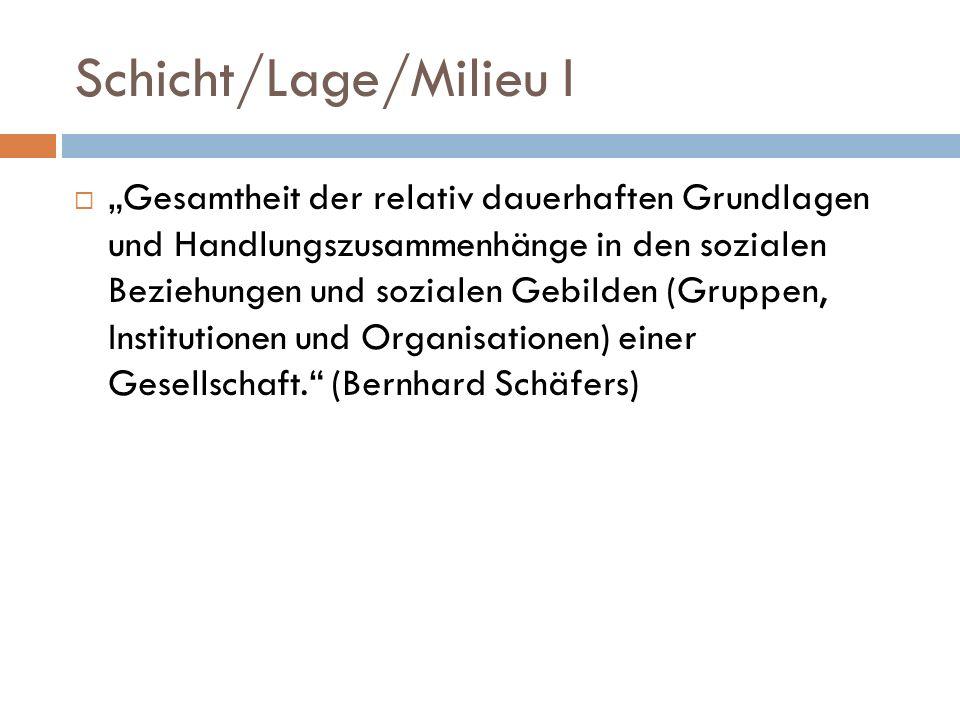 Schicht/Lage/Milieu I Gesamtheit der relativ dauerhaften Grundlagen und Handlungszusammenhänge in den sozialen Beziehungen und sozialen Gebilden (Gruppen, Institutionen und Organisationen) einer Gesellschaft.