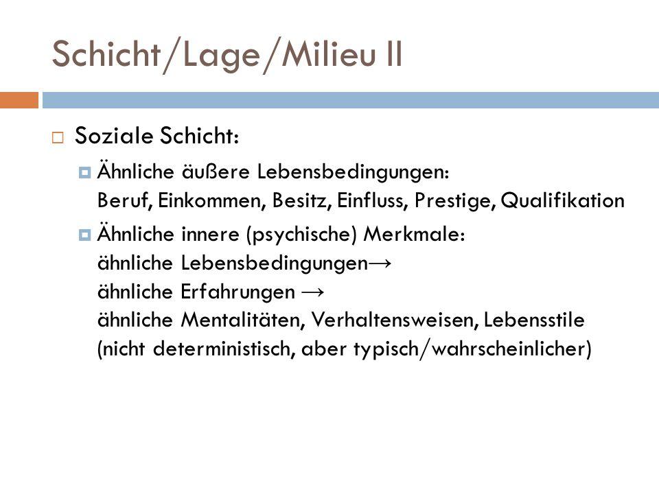Schicht/Lage/Milieu II Soziale Schicht: Ähnliche äußere Lebensbedingungen: Beruf, Einkommen, Besitz, Einfluss, Prestige, Qualifikation Ähnliche innere