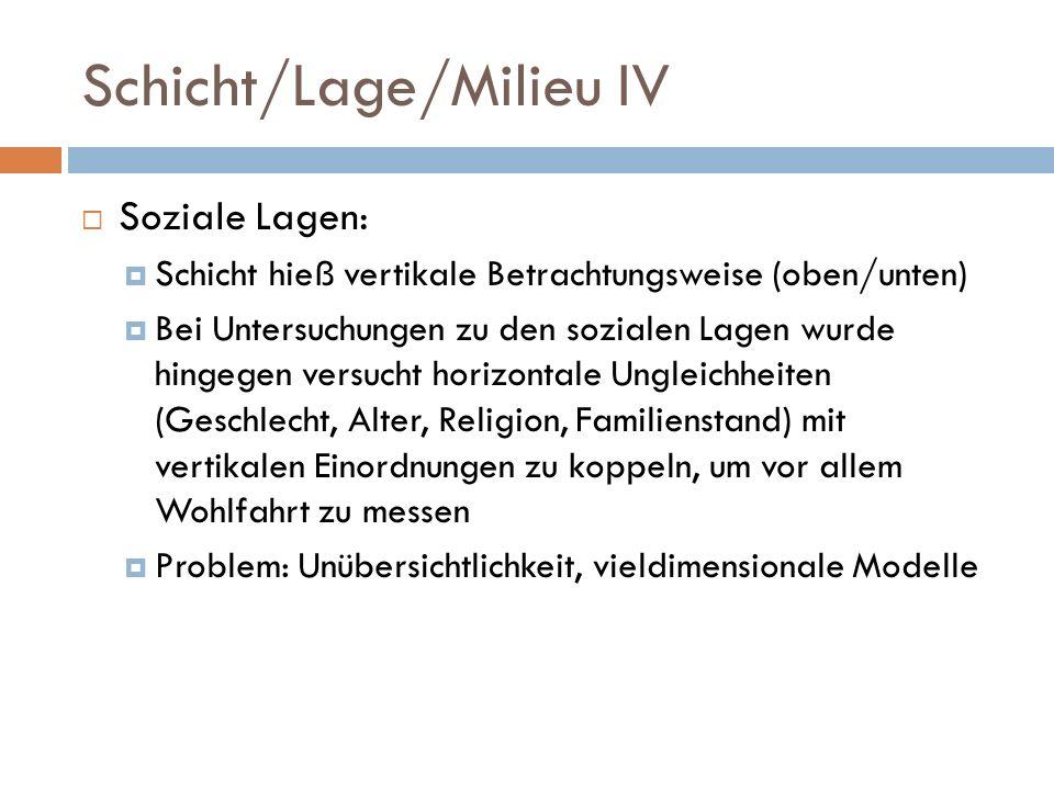 Schicht/Lage/Milieu IV Soziale Lagen: Schicht hieß vertikale Betrachtungsweise (oben/unten) Bei Untersuchungen zu den sozialen Lagen wurde hingegen ve