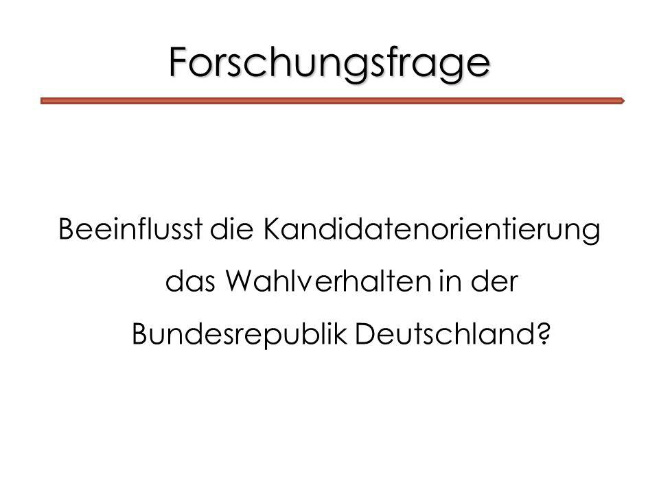 Forschungsfrage Beeinflusst die Kandidatenorientierung das Wahlverhalten in der Bundesrepublik Deutschland?