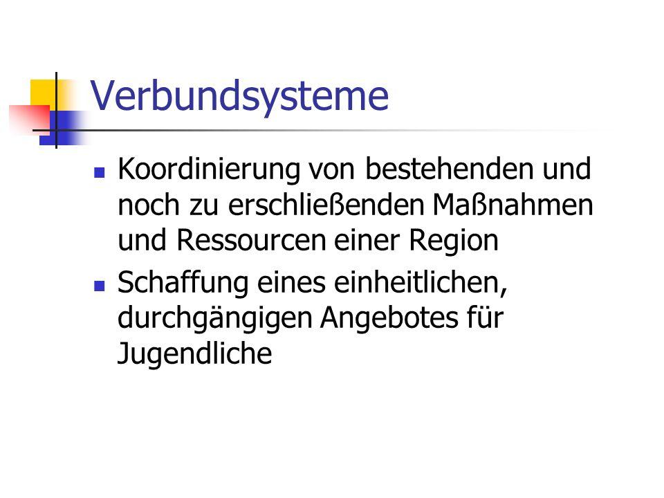 Verbundsysteme Koordinierung von bestehenden und noch zu erschließenden Maßnahmen und Ressourcen einer Region Schaffung eines einheitlichen, durchgäng