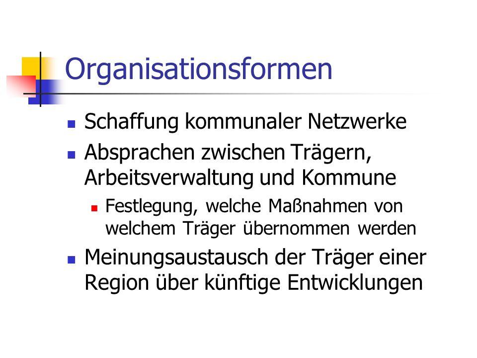 Organisationsformen Schaffung kommunaler Netzwerke Absprachen zwischen Trägern, Arbeitsverwaltung und Kommune Festlegung, welche Maßnahmen von welchem