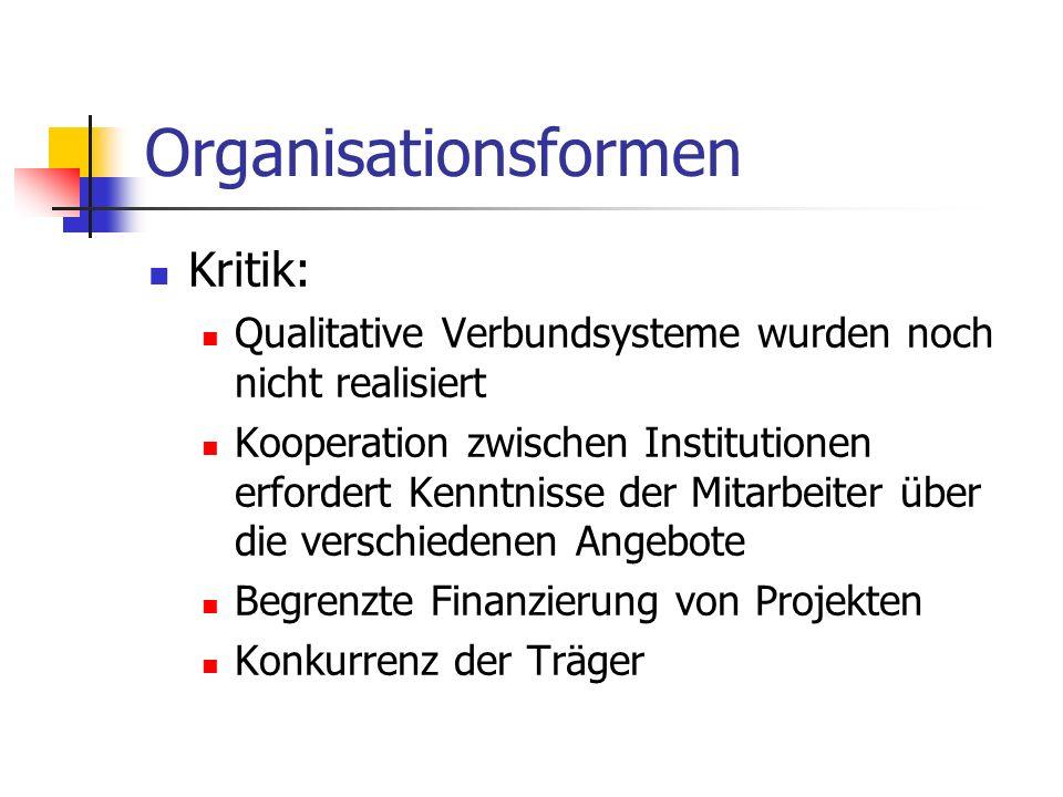 Organisationsformen Kritik: Qualitative Verbundsysteme wurden noch nicht realisiert Kooperation zwischen Institutionen erfordert Kenntnisse der Mitarb