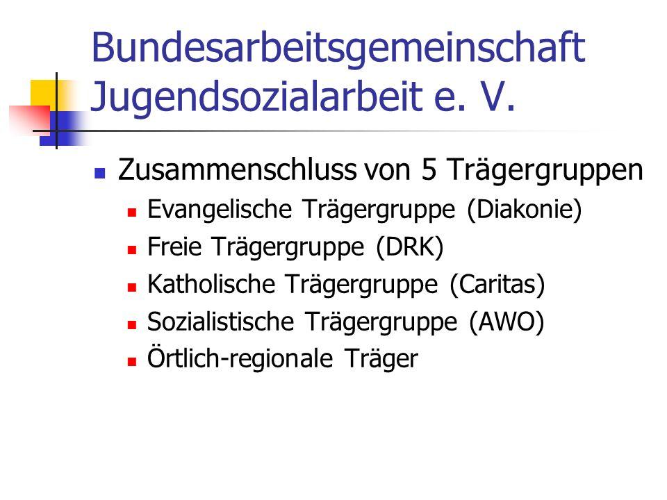 Bundesarbeitsgemeinschaft Jugendsozialarbeit e. V. Zusammenschluss von 5 Trägergruppen Evangelische Trägergruppe (Diakonie) Freie Trägergruppe (DRK) K