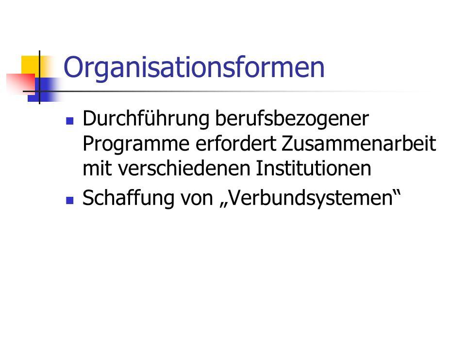 Organisationsformen Durchführung berufsbezogener Programme erfordert Zusammenarbeit mit verschiedenen Institutionen Schaffung von Verbundsystemen