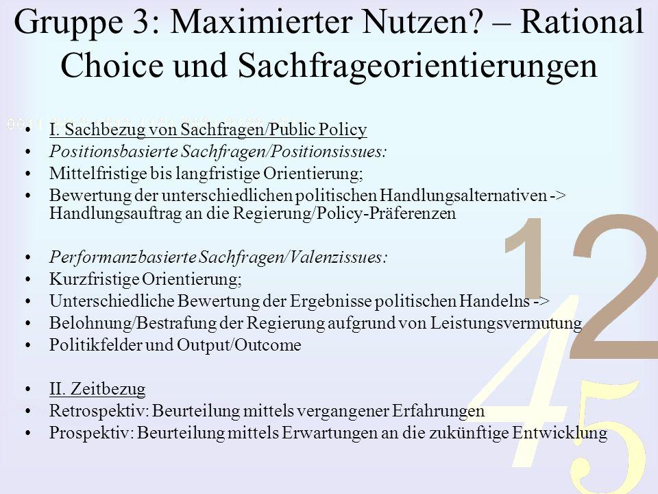 Gruppe 3: Maximierter Nutzen? – Rational Choice und Sachfrageorientierungen I. Sachbezug von Sachfragen/Public Policy Positionsbasierte Sachfragen/Pos