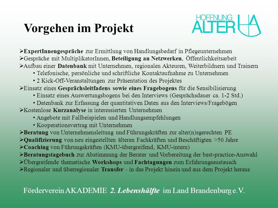 Förderverein AKADEMIE 2. Lebenshälfte im Land Brandenburg e.V. ExpertInnengespräche zur Ermittlung von Handlungsbedarf in Pflegeunternehmen Gespräche