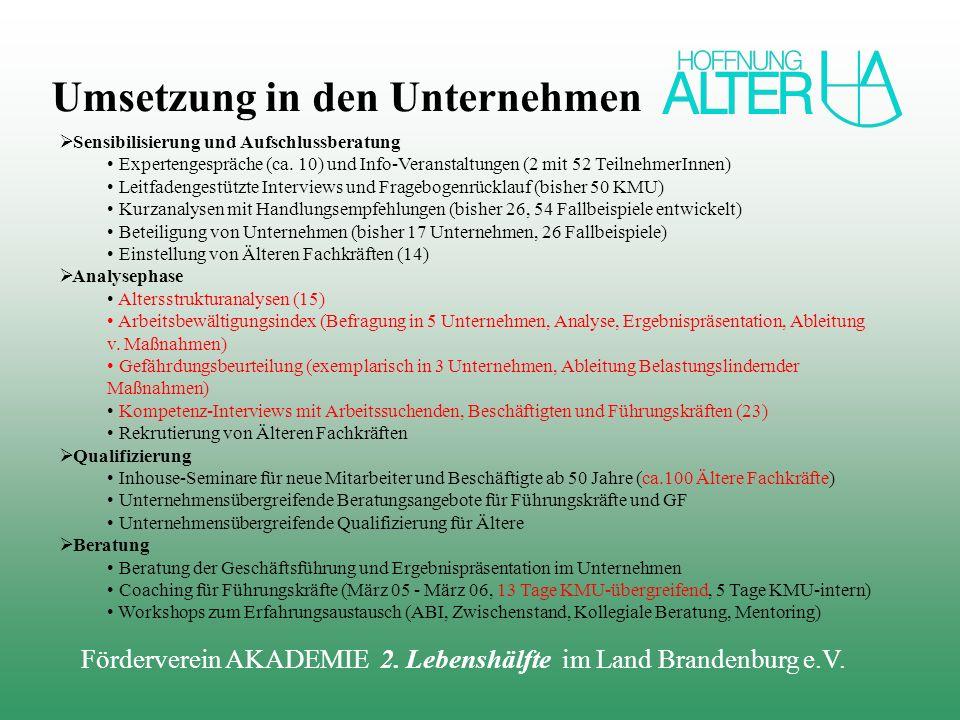 Förderverein AKADEMIE 2. Lebenshälfte im Land Brandenburg e.V. Sensibilisierung und Aufschlussberatung Expertengespräche (ca. 10) und Info-Veranstaltu