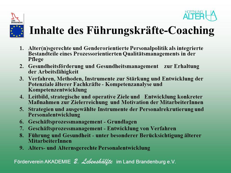 Inhalte des Führungskräfte-Coaching 1.Alter(n)sgerechte und Genderorientierte Personalpolitik als integrierte Bestandteile eines Prozessorientierten Q