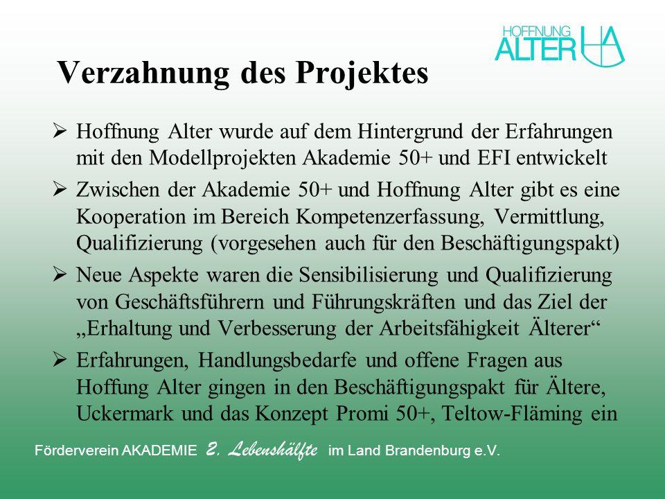 Verzahnung des Projektes Hoffnung Alter wurde auf dem Hintergrund der Erfahrungen mit den Modellprojekten Akademie 50+ und EFI entwickelt Zwischen der