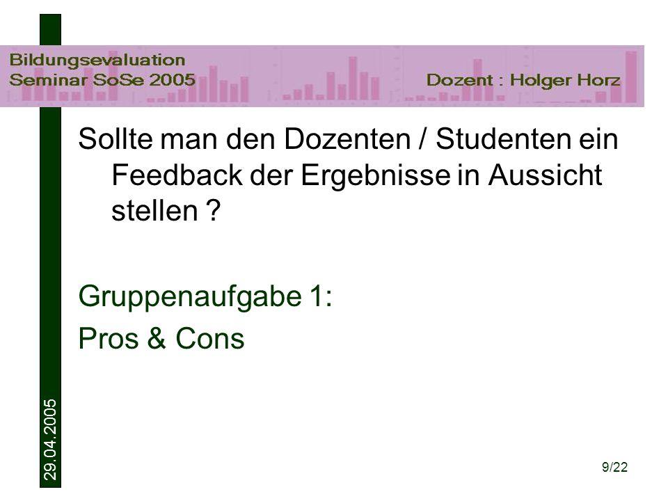 29.04.2005 9/22 Sollte man den Dozenten / Studenten ein Feedback der Ergebnisse in Aussicht stellen .