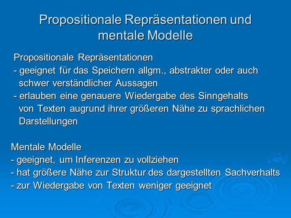 Propositionale Repräsentationen und mentale Modelle Propositionale Repräsentationen Propositionale Repräsentationen - geeignet für das Speichern allgm