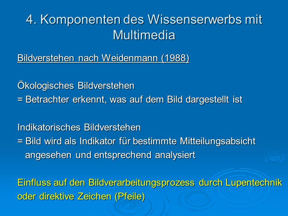 4. Komponenten des Wissenserwerbs mit Multimedia Bildverstehen nach Weidenmann (1988) Ökologisches Bildverstehen = Betrachter erkennt, was auf dem Bil