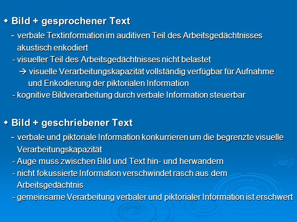 Bild + gesprochener Text Bild + gesprochener Text - verbale Textinformation im auditiven Teil des Arbeitsgedächtnisses - verbale Textinformation im au