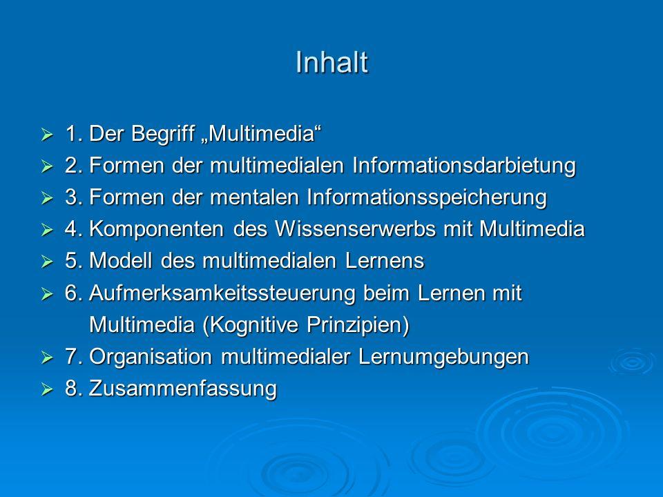 Inhalt 1. Der Begriff Multimedia 1. Der Begriff Multimedia 2. Formen der multimedialen Informationsdarbietung 2. Formen der multimedialen Informations